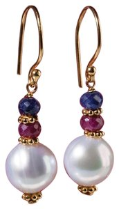 French Beautiful French Style Ruby, Sapphire and Pearl Teardrop Earrings
