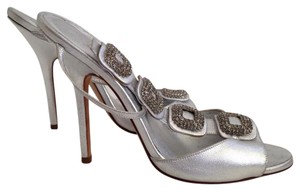 Manolo Blahnik Jeweled Satin T-strap Silver Sandals