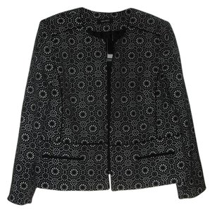 Nine West Nine West New Black/Ivory Open Front Pattern Blazer Jacket 16
