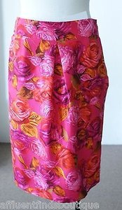 L.K. Bennett Floralrose Print Silky Straight Skirt Pink, Orange
