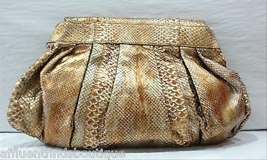 Carlos Falchi Fatto A Mano Bronze Python Shoulder Bag