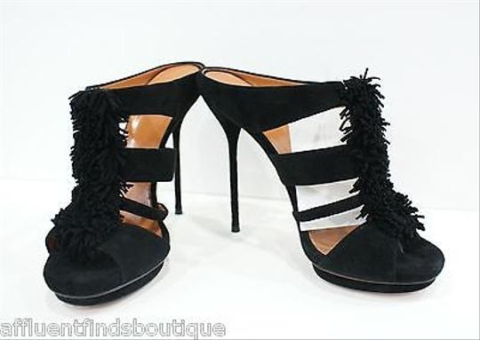 Gucci Suede Strappy Mules Heels W Fringe Or Black Pumps