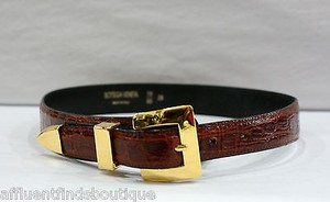 Bottega Veneta Bottega Veneta Brown Alligator Belt Gold Buckle 70 85 Or 28