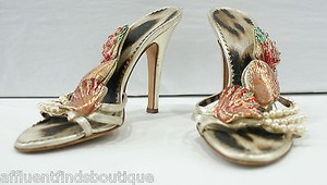 Roberto Cavalli Strappy Leather Heels W Pearls Or Gold Pumps