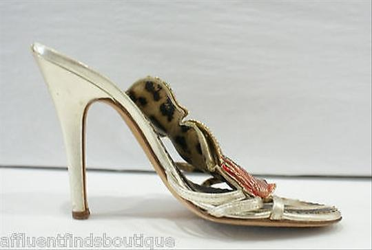 Roberto Cavalli Strappy Leather Heels W Shells Pearls Or Gold Pumps