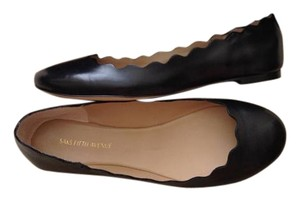 Saks Fifth Avenue Chloe Scallop Italian Leather Black Flats