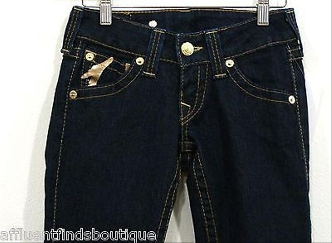 True Religion Joey Gold Foilgold Painted Flare Leg Jeans