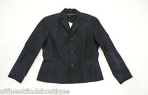 Ralph Lauren Label Silk With Satin Trim Black Jacket