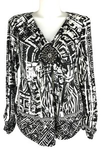 ECI New York V-neck Beaded Embellishment Ruched Plunging Abstract Top Black and White