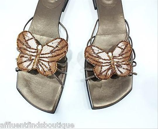 Stuart Weitzman Strappy Beaded Butterfly 8aa Brown Sandals
