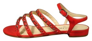 Chanel New Buckle Closure Classic Style Great Walking Red Sandals