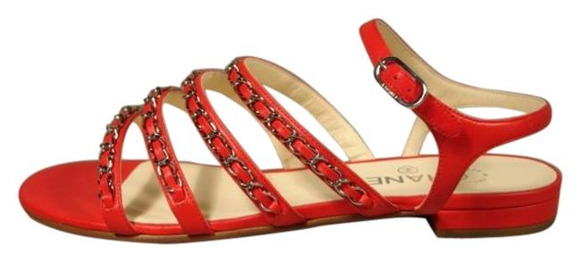 Item - Red Leather 4 Silver Woven Chain Straps Sandals Flats Size US 6 Wide (C, D)