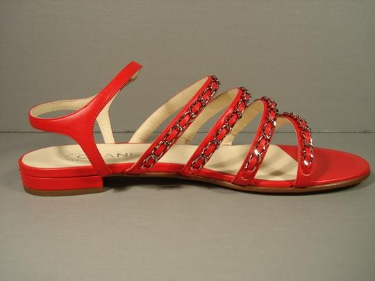Chanel New Buckle Closure Classic Style Great Walking Red Flats Image 1