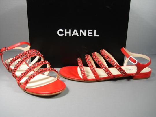 Chanel New Buckle Closure Classic Style Great Walking Red Flats Image 11
