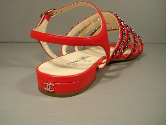 Chanel New Buckle Closure Classic Style Great Walking Red Flats Image 2