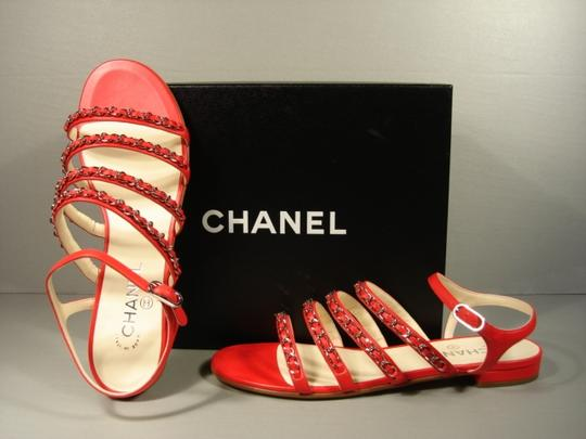 Chanel New Buckle Closure Classic Style Great Walking Red Flats Image 8