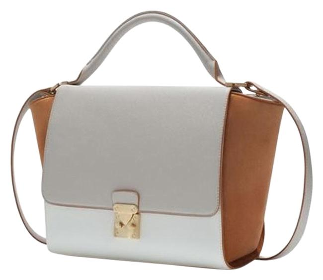 Item - Trapeze Multi / Tan / White / Light Grey Leather Satchel