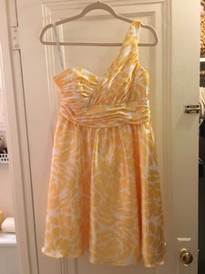 Alfred Angelo Sunshine/Cream Charmeuse 7059 Formal Bridesmaid/Mob Dress Size 10 (M)