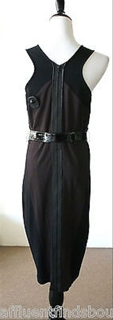 Other Reyes Black Burgundybrown Sleeveless Belted Dress