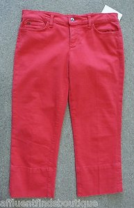 JOE'S Jeans The Socialite Kicker Red Denim Capri Or 810 Capri/Cropped Pants Reds