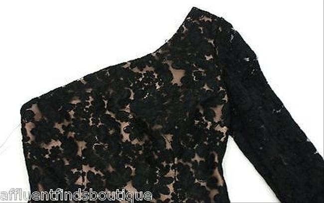 Marchesa Notte Nude Lining Lace Overlay One Shoulder Dress