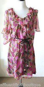 MILLY Pinkpurplebrown Silk Chiffon Metallic Rope Belt Dress
