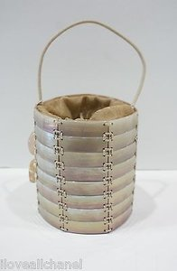 Giorgio Armani Circular Iridescent Mother Of Pearl Drawstring Handbag Beige Clutch
