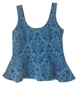 bebe Peplum Brocade Work Top Blue