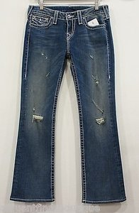 True Religion Disco Becky Big T Swarovski Style 10564nbtc Boot Cut Jeans