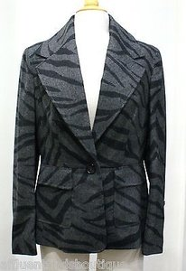 Escada Escada Charcoal Black Zebraanimal Print Wool Jacket Or