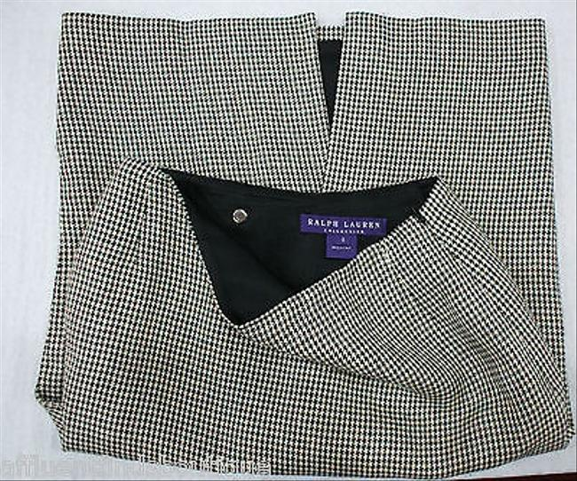 Ralph Lauren Collection Purple Label Black And White Houndstooth Skirt Multi-Color