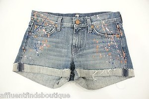 7 For All Mankind Splatteredpaintedgraffiti Denim Or 0 Cut Off Shorts Blue