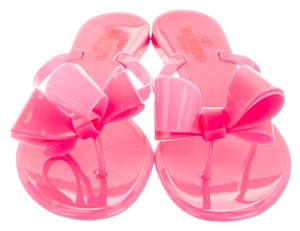 Valentino Bow Jelly Neon Rubber Rockstud Neon Pink Sandals