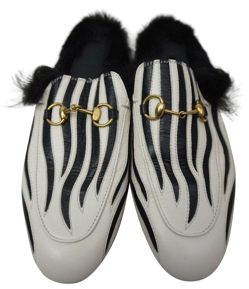 75b3215bab5 Gucci Black and White Women s Princetown Leather Lamb Fur Zebra Stripe Mules  Slides. Size  EU ...