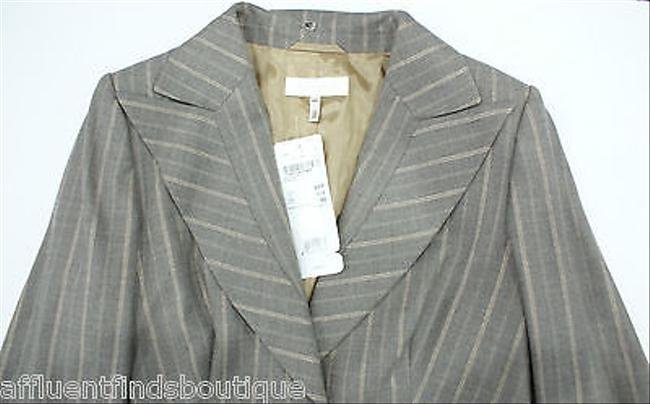Escada Escada Brown Tan Pinstripe Embroidered Jacket Or 35207