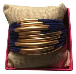 Mythologie Mythologie Navy Leather Cord Metal Bracelet