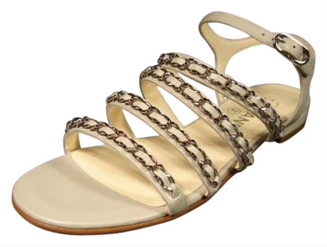 Item - Grey/Gray Leather 4 Silver Woven Straps Sandals Flats Size EU 36 (Approx. US 6) Wide (C, D)
