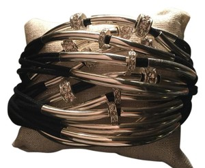 Mythologie Mythologie Black Leather Cord Metal Bracelet