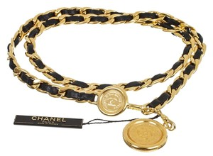 Chanel Chanel Gold and Black Leather Medallion Chain Belt (Size S)