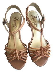 Seychelles Leather Low Heel Spanish Tan Sandals