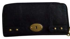 Fossil Leather Vintage Wallet Purse Black Clutch