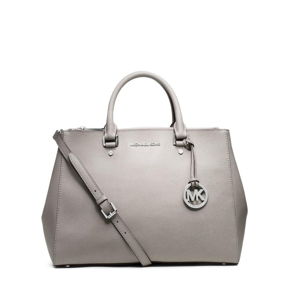 513427c676 Michael Kors Mk Saffiano Leather Sutton Saffiano Sutton Medium Satchel in PEARL  GREY SILVER HARDWARE. 123456789