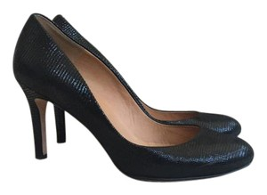 Ann Taylor Lizard Shine Round Toe Black Pumps