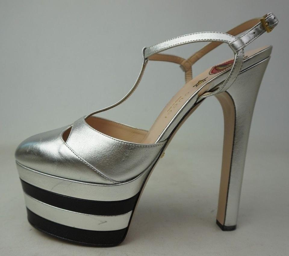13848fe08bb Gucci Silver Angel Leather Platform Stripes Pumps Size EU 39.5 (Approx. US  9.5) Regular (M