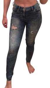 Express Acid Wash High Waisted High Rise Ripped Destroyed Skinny Jeans-Acid