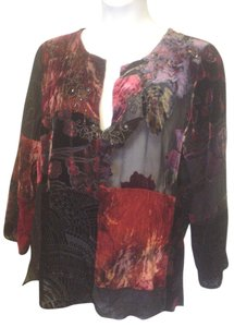 Chico's Sheer Casual Velvet Shirt Top Multi-Color