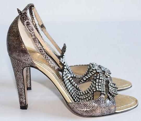 Rene Caovilla Metallic Silver Maroon Lizard Rhinestone Strappy Heels Multi-Color Pumps