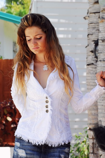 Lirome Bohemian Country Cottage Summer Spring White Womens Jean Jacket Image 1