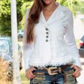 Lirome Bohemian Country Cottage Summer Spring White Womens Jean Jacket Image 4