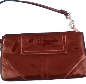 Coach Patent Brown Phone Wallet Wristlet in Burgundy Brown